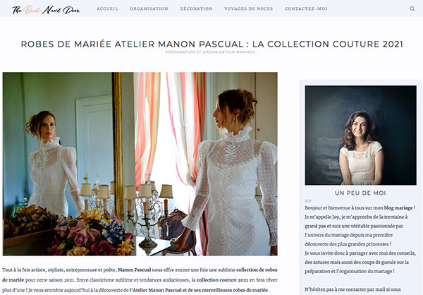 Collection couture Manon Pascual 2021 robe de mariée